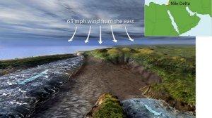 A ilustração mostra como um rio pode ter se separado de uma lagoa costeira (Nicolle Rager Fuller)